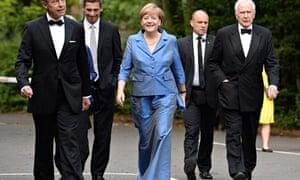 A smiling Angela Merkel arrives at the Bayreuth opera festival