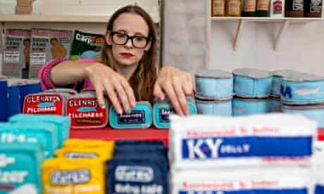 Artist Lucy Sparrow stocks the shelves of her felt corner shop in London