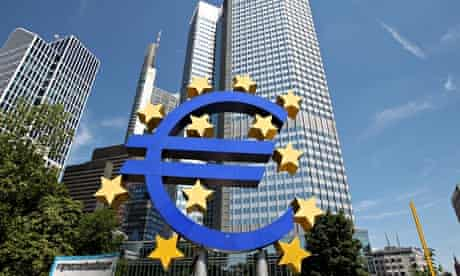 Euro currency symbol in front of the European Central Bank (ECB) in Frankfurt.