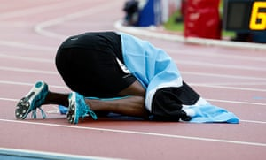 Athletics at Ibrox: Amos is wrapped in the Botswanan flag