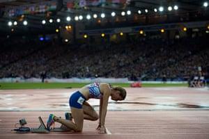 Athletics at Ibrox: Eilidh Child settles on her blocks