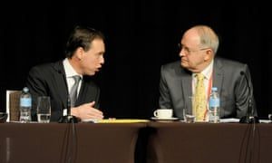 Greg Hunt (left) chats with Ross Garnaut