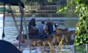 Rolf Harris leaving his home for sentencing by boat