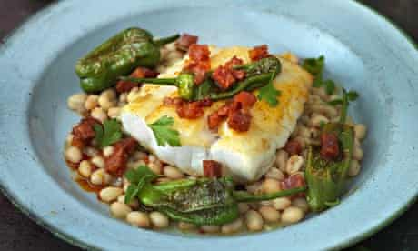 Scott's roasted cod, arrocina beans chorizo and pádron peppers