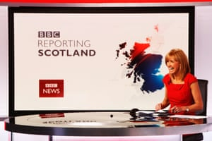 Presenter Jackie Bird prepares for the lunchtime bulletin of Reporting Scotland from BBC Scotland's television and radio studio complex at Pacific Quay, Glasgow.