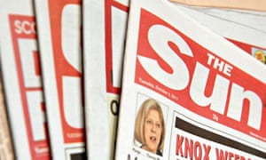 Generic view of English newspapers with The Sun on the top