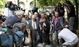 Entertainer Rolf Harris arrives at court for sentencing on 12 counts of indecent assault of girls