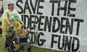 Protesting the decisiuon to axe the Independent Living Fund
