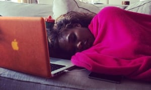 A picture Serena Williams posted on her Instagram account of her recovering from illness at Wimbledon.