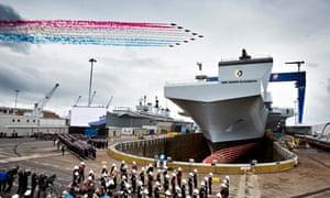 Red Arrow flypast at HMS Queen Elizabeth naming