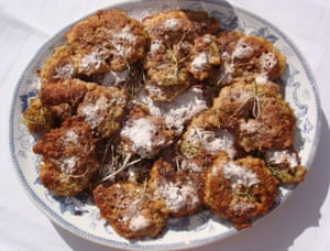 The finished fritters - delicious with a sprinkling of cinnamon sugar.