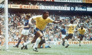 Jairzinho scoring in the 1970 World Cup final