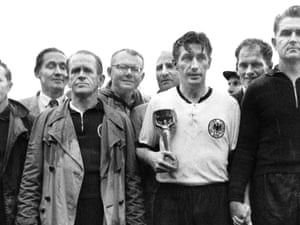 West Germany, beside themselves with joy after becoming the first country to win their first World Cup away from home, in 1954. Left to right: Adidas boots and studs genius Adi Dassler, manager Sepp Herberger, captain Fritz Walter and goakeeping hero Toni Turek