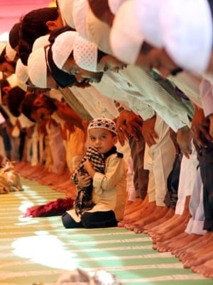 Muslim devotees offer prayers on the first Friday of Ramadan at Taj-ul Mosque in Bhopal, India