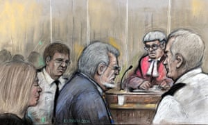 Rolf Harris in artist's court drawing