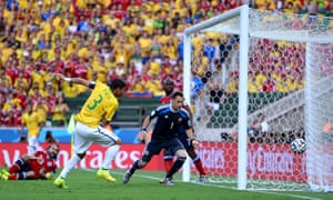 Unmarked at the back post, Thiago Silva scores to settle the Brazilian nerves.