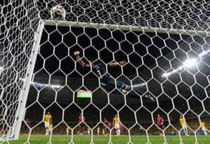 David Luiz of Brazil scores a stunning free-kick.