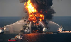 Firefighters battle the blazing remnants of the Deepwater Horizon oil rig in 2010