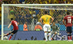 Colombia's midfielder James Rodriguez scores the penalty.