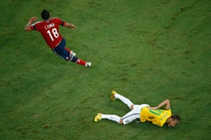 Brazil v Colombia: Juan Camilo Zúñiga of Colombia runs after fouling Neymar