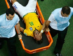 Brazil v Colombia: Neymar is carried off against Colombia