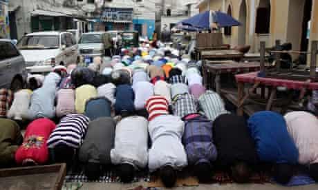 Muslims at Friday prayers during Ramadan in Mogadishu.