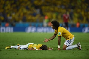 Brazil v Colombia: Brazil's defender Marcelo gestures after Neymar is fouled