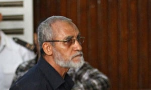 Mohammed Badie during his trial in Cairo.