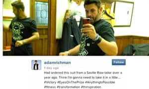 Adam Richman boasts online of his weight loss, under the hashtag 'thinspiration'.
