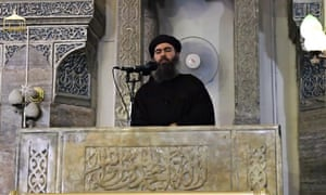 A still from the video appearing to show Abu Bakr al-Baghdadi.