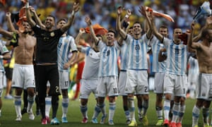 Argentina's players celebrate reaching their first World Cup semi-final in 24 years.