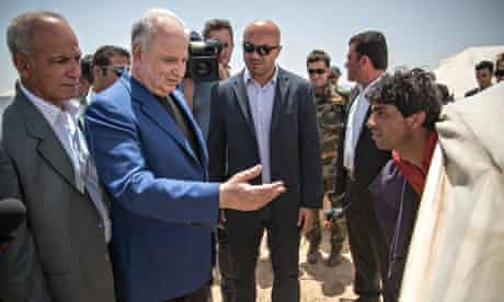 Ahmad Chalabi visiting a refugee camp in Mosul