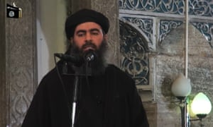 The man said to be Abu Bakr al-Baghdadi, in an image taken from the propaganda video.