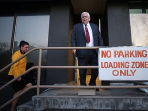 Palmer united Party leader Clive Palmer arrives at their offices at the National Press Club building for an early morning meeting of the party prior to the first day of sitting for the new Senate.