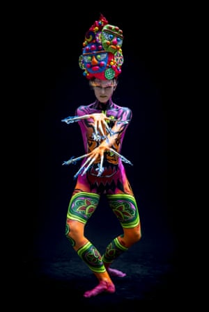 """A highlight of the festival is """"bodypaint city"""" where many models painted head-to-toe can be seen walking around."""