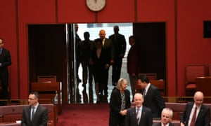 The Governor General, General Sir Peter Cosgrove arrives for the swearing of new Senators this morning.