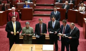 PUP Senator Glenn Lazarus is sworn in as a new senator this morning at a ceremony in the Senate chamber of Parliament House.