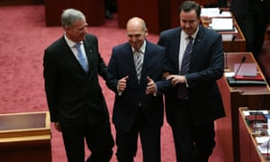 Senator Stephen Parry is elected president of the Senate and is escorted to his chair by Senators Colbeck and Bushby.