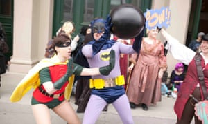Oz Comic Con cosplay: 1960s Robin and Batman attempt to save the day.