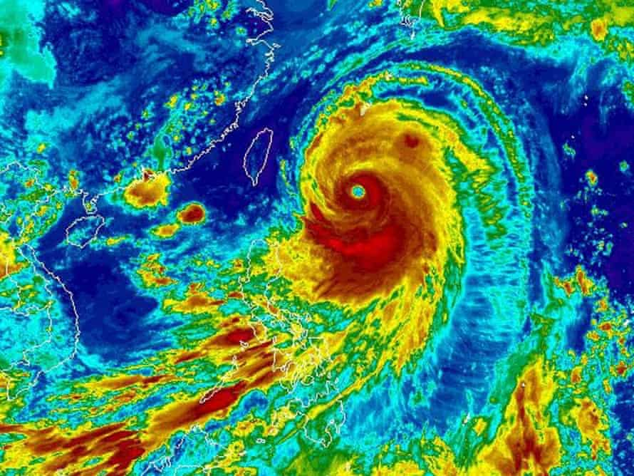 Satellite image by the National Oceanic and Atmospheric Administration (NOAA) showing typhoon Neoguri, the first super typhoon of 2014 heading towards Japan.