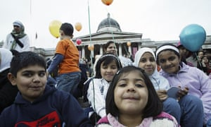 People gather in Trafalgar Square to celebrate the Muslim festival of Eid ul-fitr marking the end of Ramadan. This year Ramadan will end around the 29th or 30th of July.