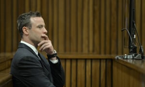 South African Paralympic champion Oscar Pistorius sits in the courtroom during day 37 of his trial at the high court in Pretoria, South Africa, on 3 July 2014.