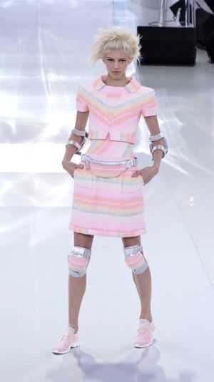 Chanel's couture trainers and kneepads, shown as part of spring summer haute couture week in January 2014.
