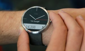 The Moto 360, one of the rare round Android smartwatches.