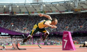 Oscar Pistorius competes in the Men's 400m Round 1 heat on Day 8 of the 2012 London Olympic Games at the Olympic Stadium in London.