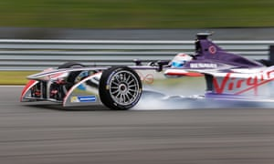 2014 Formula E Championship Virgin electric racing car during day one of Donington park test, on 3 July 2014.