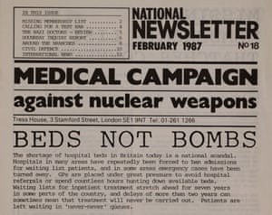 """Beds Not Bombs"" - Medical Campaign Against Nuclear Weapons newsletter, 1987."