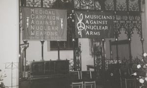 Medical Campaign Against Nuclear Weapons  Northwest Region and Musicians Against Nuclear Arms banners.