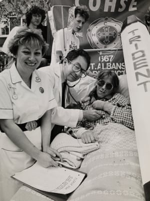 MCANW (Medical Campaign Against Nuclear Weapons) Herts branch. Beds Not Bombs Demonstration at St. Albans city centre on 2nd May 1987.
