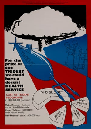 Poster comparing health to military spending, 1980s.